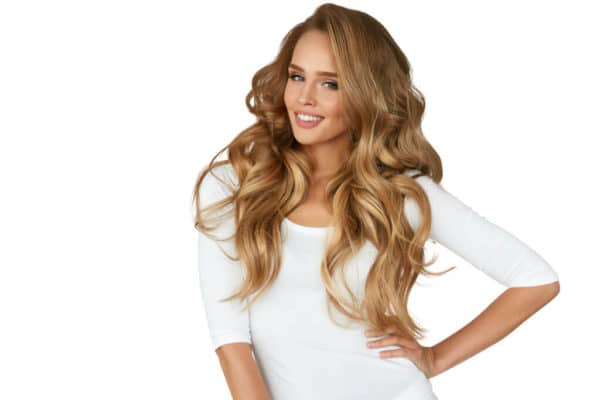 Blonde model with tape extensions by gobella